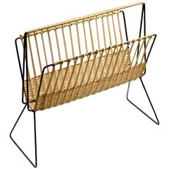 Large Mid-Century Wicker Modernist Magazine Rack by Rohe Noordwolde, circa 1950