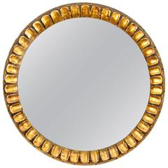 Spanish 1960s Carved Gold Leaf Giltwood Circular Mirror