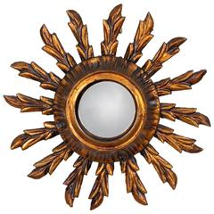 Early 20th Century Spanish Gold Leaf Giltwood Sunburst Mirror