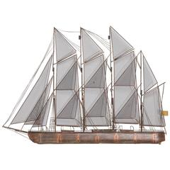 Sailboat Metal Wall Sculpture by Curtis Jere, 1975