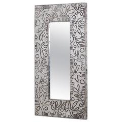 Small Embossed Aluminium Wrapped Mirror by Arenson, 1980s