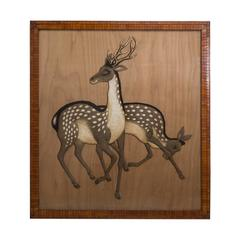 Extremely Rare Japanese Tapestry of Sika Deer circa, 1880
