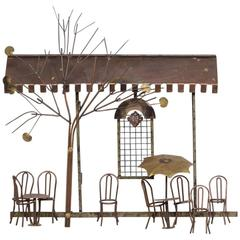 Small Parisian Cafe Scene Wall Sculpture by Curtis Jere