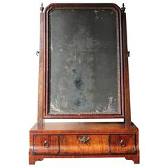 Fine George II Period Figured Walnut Three-Drawer Dressing Mirror, circa 1730
