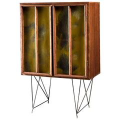 Gene Caples Wood and Painted Glass Cabinet, USA, 1960s