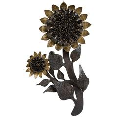 Early Rare Sunflower Metal Wall Sculpture by Curtis Jere, 1967