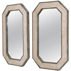 Pair of Maitland-Smith Stone Venveered Octagonal Mirrors, 1980s