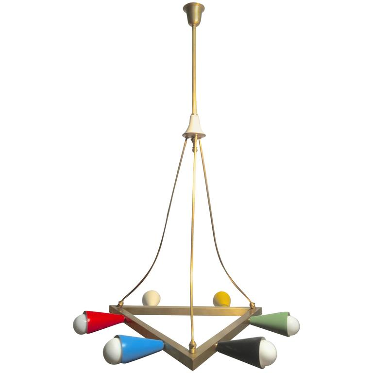 Mid Century Multicolor Geometric Chandelier For Sale At