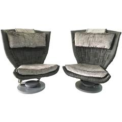 Marzio Cecchi Pair of Grey Woven Leather Swivel Chairs