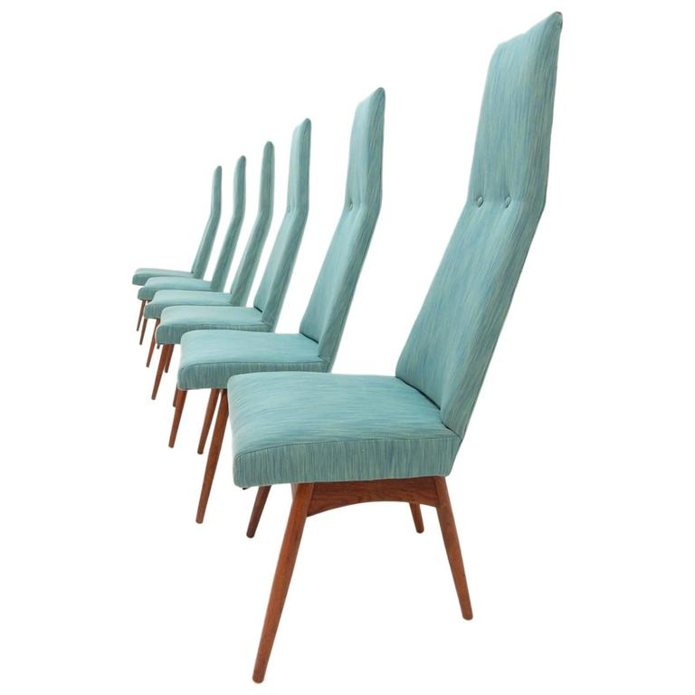 Mid-Century Modern Adrian Pearsall Tall Back Dining Chairs Set of Six