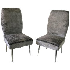 Pair of Vintage Italian Plush Covered Occasional Chairs