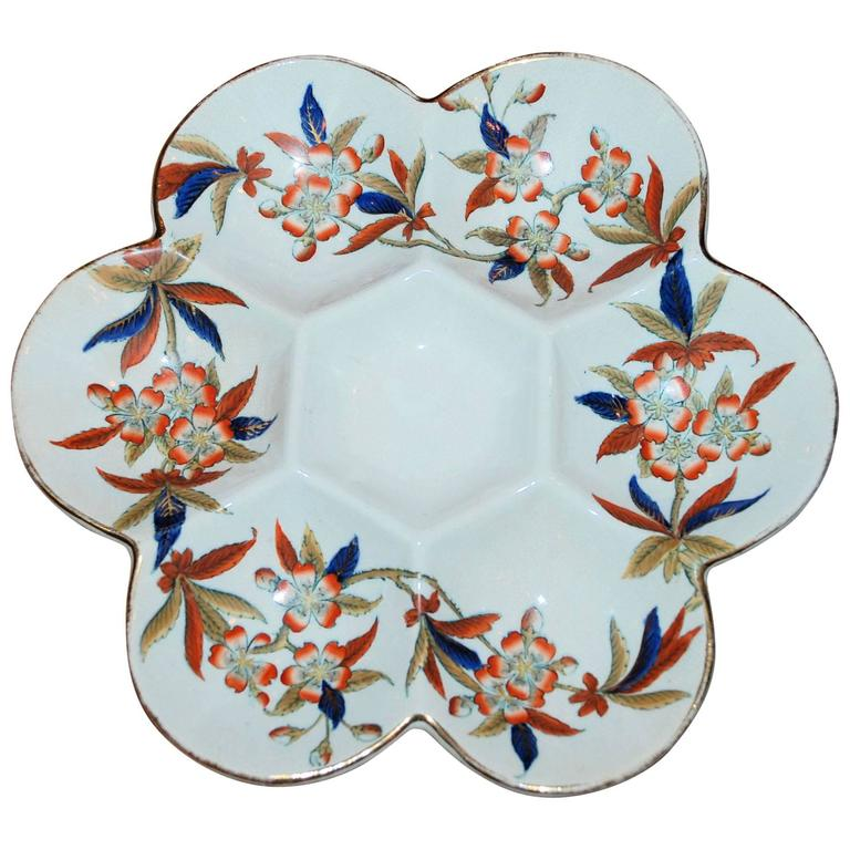 Antique Hand-Painted Porcelain Oyster Plate