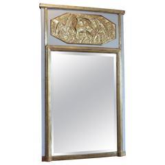 Late 19th Century French Art Nouveau Gilt Trumeau Mirror