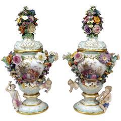 Meissen Two Tall Potpourri Vases Vintage Abundant Sculptured Decorations c.1850