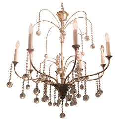 Art Deco Style, Eight arms Chrome Chandelier with Crystal Drops