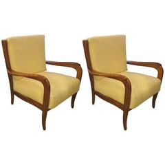 Sculptural Pair of Italian 1950s Armchairs