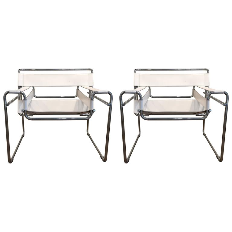Pair of vintage marcel breuer white leather wassily chairs for sale at
