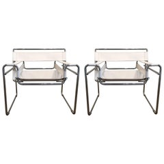 Pair of Vintage Marcel Breuer White Leather Wassily Chairs