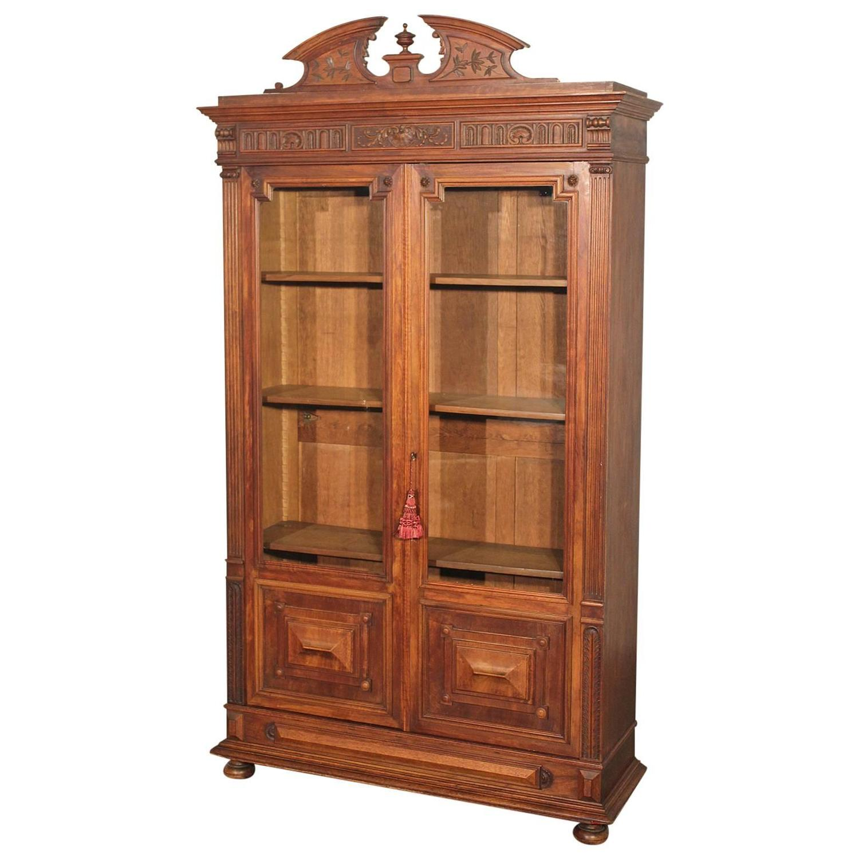 Antique eastlake victorian walnut bookcase display case for Eastlake storage