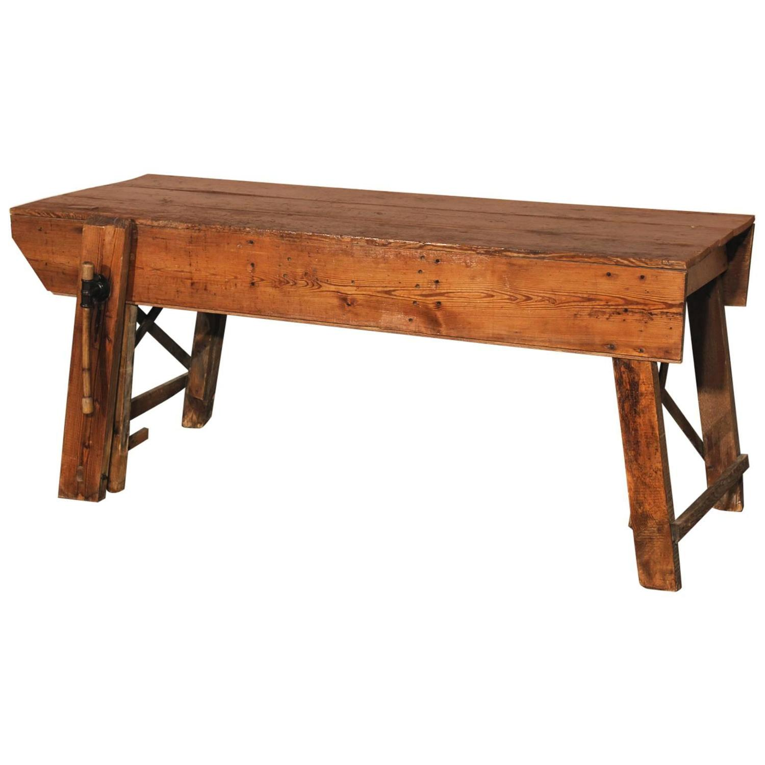 French Farmhouse Dining Table Large 19th Century French Rustic Pine Table Cleated 2 Plank