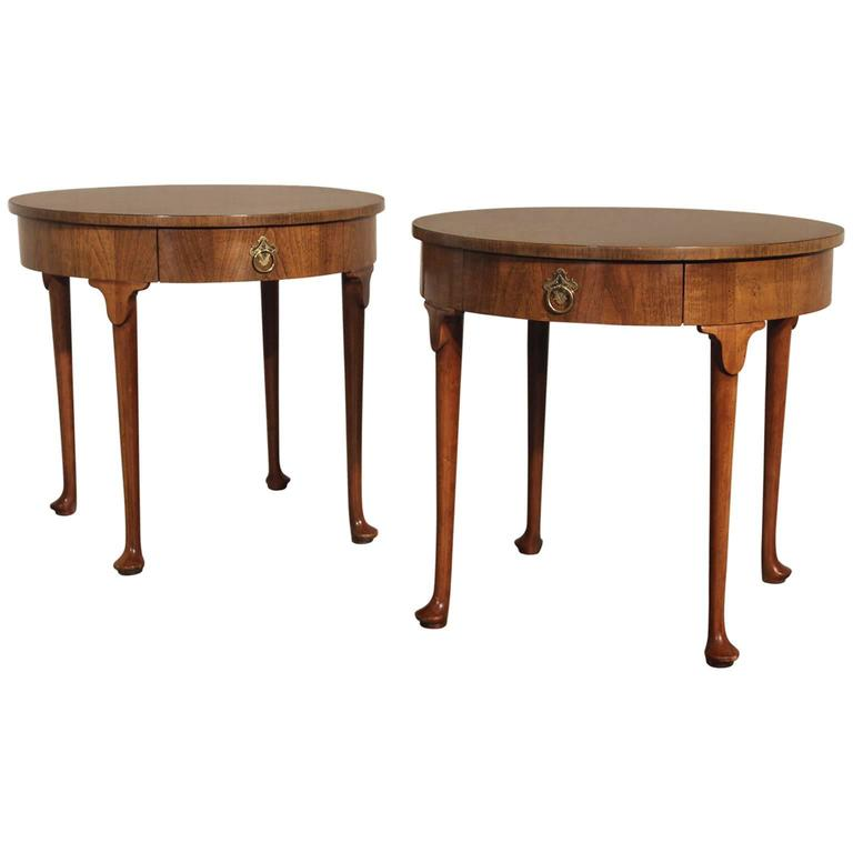 Vintage Pair Of Baker Georgian Style Round End Tables From