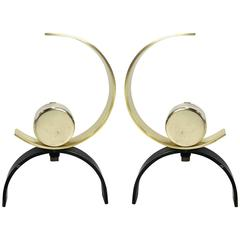 Pair of Moderne Andirons Attributed to Donald Deskey