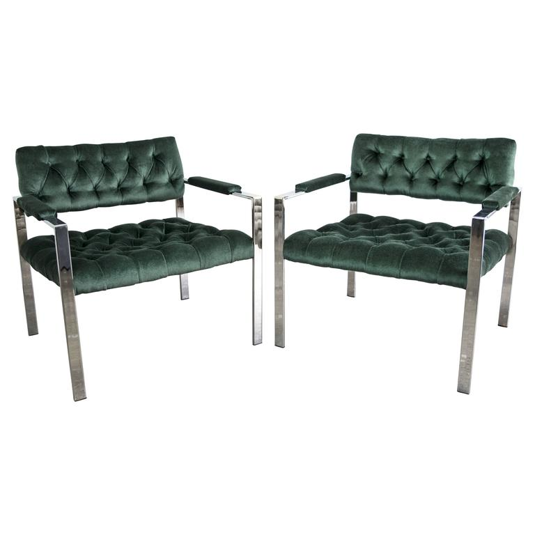 Milo Baughman for Thayer Coggin 1970s Tufted Flat Bar Chrome Chairs