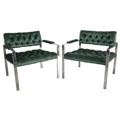 Milo Baughman for Thayer Coggin 1970s Tufted Flat Bar Chrome Chairs