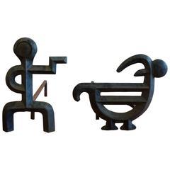 Sculptural Andirons