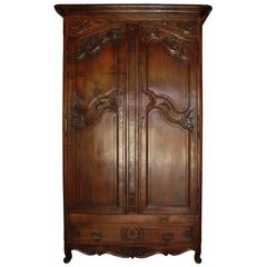 19th Century French Walnut Armoire with Single Drawer