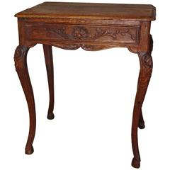Petite French Oak Side Table with Drawer