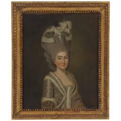 Oil on Canvas Portrait of a Fashionable Lady, France, circa 1775