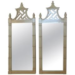 Pair of Pagoda Wall Mirrors, Chinese Chippendale Pineapple Chinoiserie