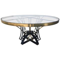 Superb Iron and Brass Round Dining Table by Arturo Pani, Mexico City circa 1950s