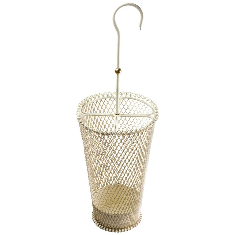 1950s Mathieu Mategot French White Perforated Metal Umbrella Stand / Holder