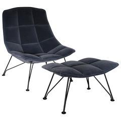 "Knoll Studio ""Jehs + Laub"" Lounge Chair and Ottoman in ""Marina"" Mohair Velvet"