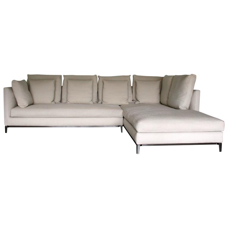 Minotti Andersen Slim 103 Quilt L Shape Sofa By Dordoni In Paco