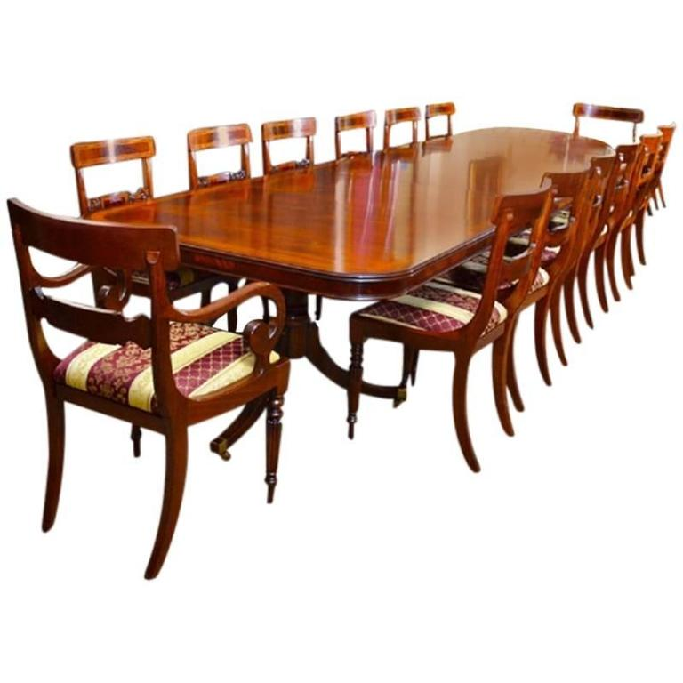 Three pillar mahogany dining table and 14 chairs for sale for Pillar dining table