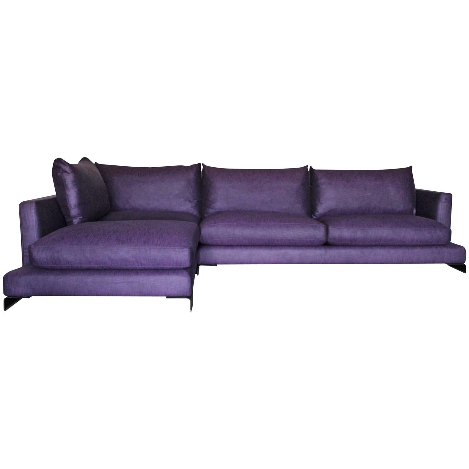 "Flexform ""Long Island"" L Shape Sofa in Purple and Black Linen For"