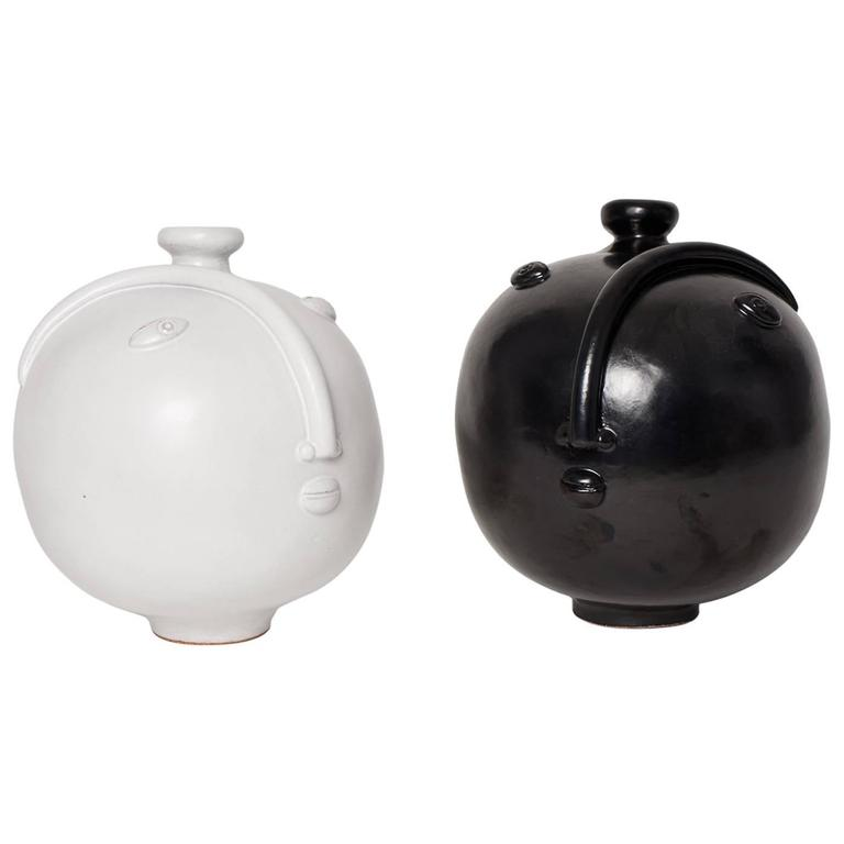 Couple Of Black And White Ceramic Vases By Dalo At 1stdibs