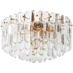 "Kalmar Flush Mount Light ""Palazzo,"" Gilt Brass and Glass, 1960s"