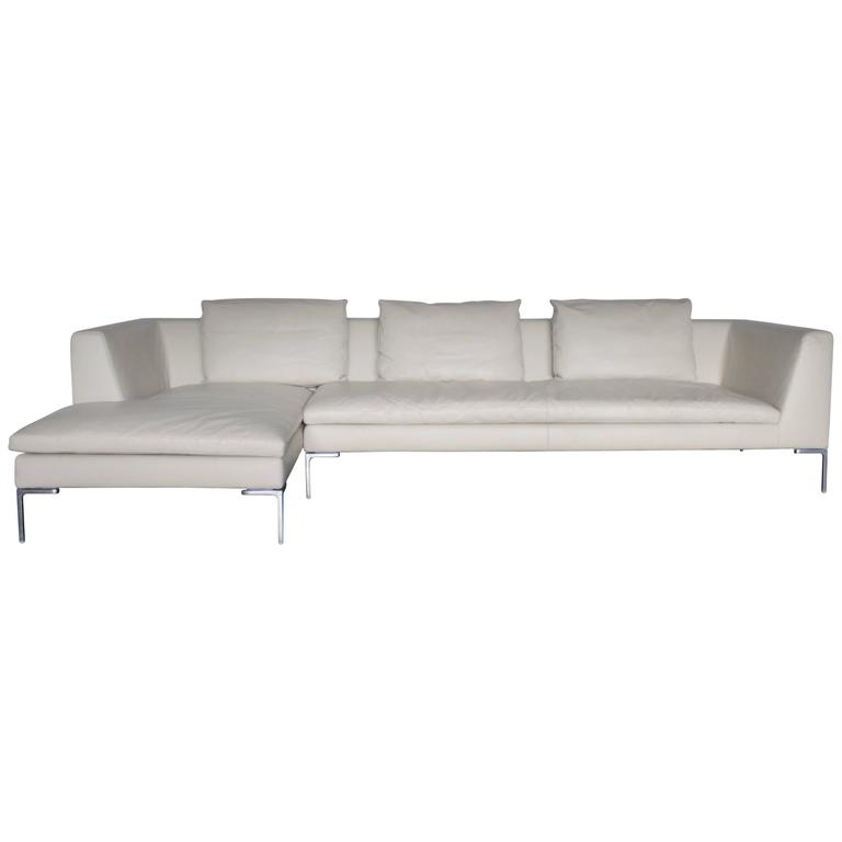B B Italia Charles L Shape Sectional Sofa In Ivory Leather By Antonio Citterio For Sale At 1stdibs