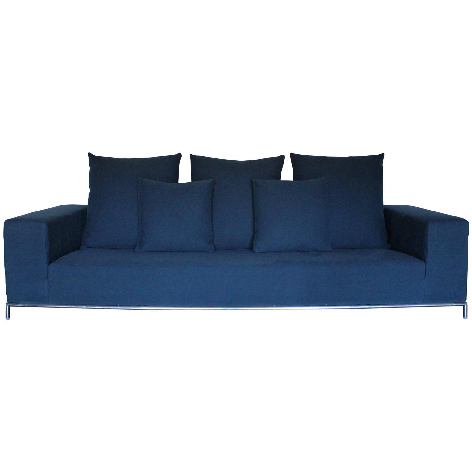 b b italia george four seat sofa in mid blue linen fabric by antonio citterio for sale at 1stdibs. Black Bedroom Furniture Sets. Home Design Ideas