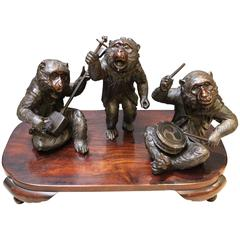 Unusual Antique Japanese Bronze of a Band of Three Monkeys Signed to Base