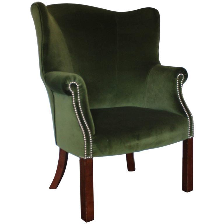 Ralph Lauren Compact U201cWingbacku201d Armchair In U201cEnglish Ridingu201d Green Velvet  For Sale