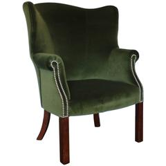 "Ralph Lauren Compact ""Wingback"" Armchair in ""English Riding"" Green Velvet"