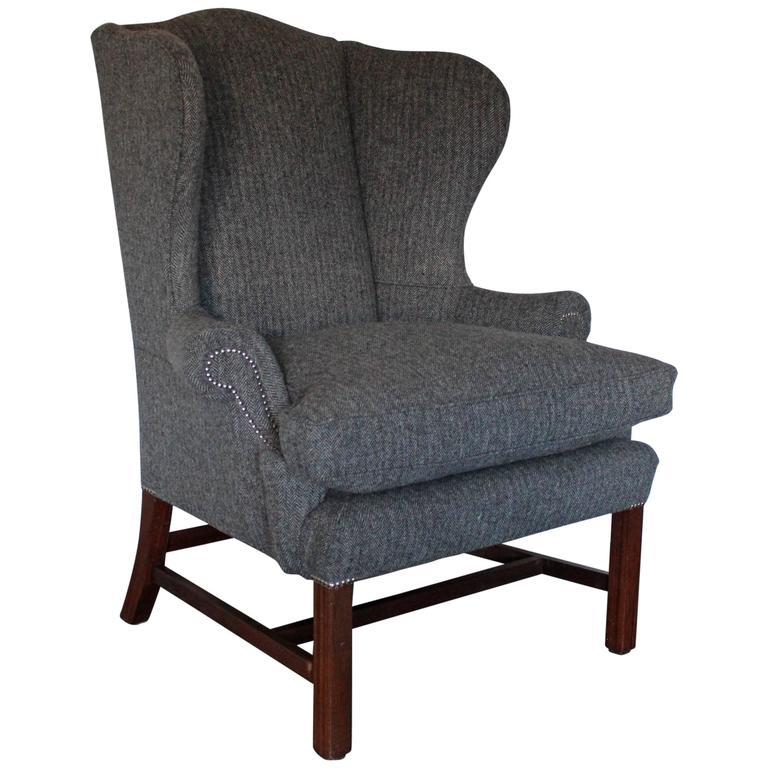 Ralph Lauren Devonshire Wingback Armchair In Grey Woollen Herringbone Fabric
