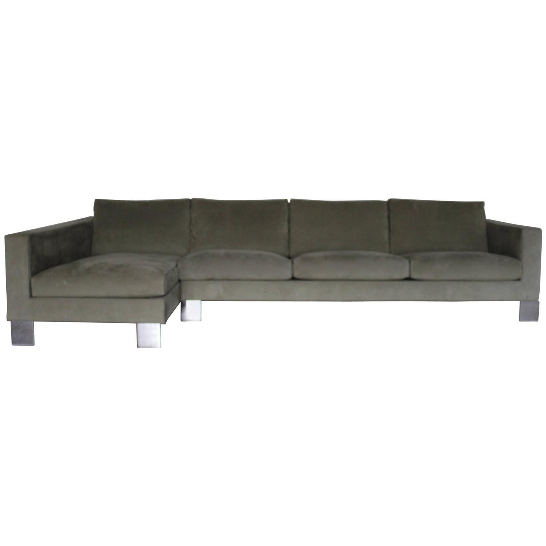 minotti pollock four seat l shape sofa in salvia. Black Bedroom Furniture Sets. Home Design Ideas