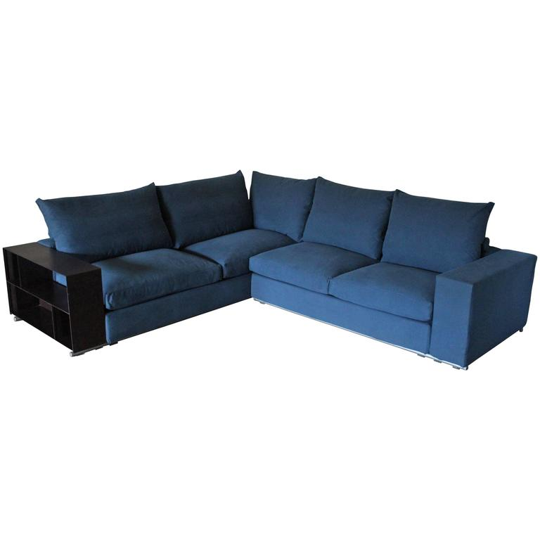 Flexform groundpiece sectional l shape sofa in blue for Blue sofas for sale