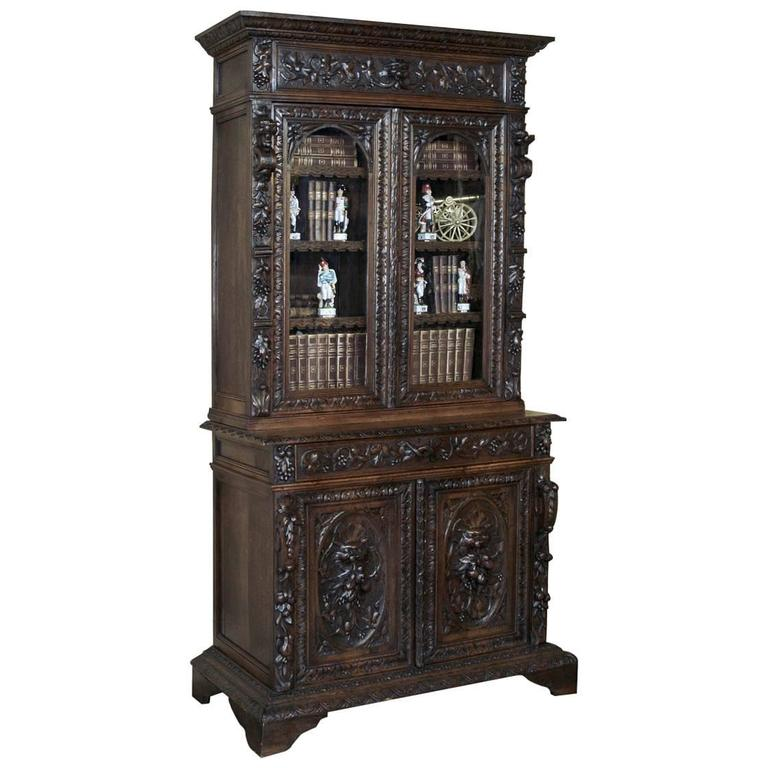 19th century french renaissance hand carved bookcase or for 19th century french cuisine